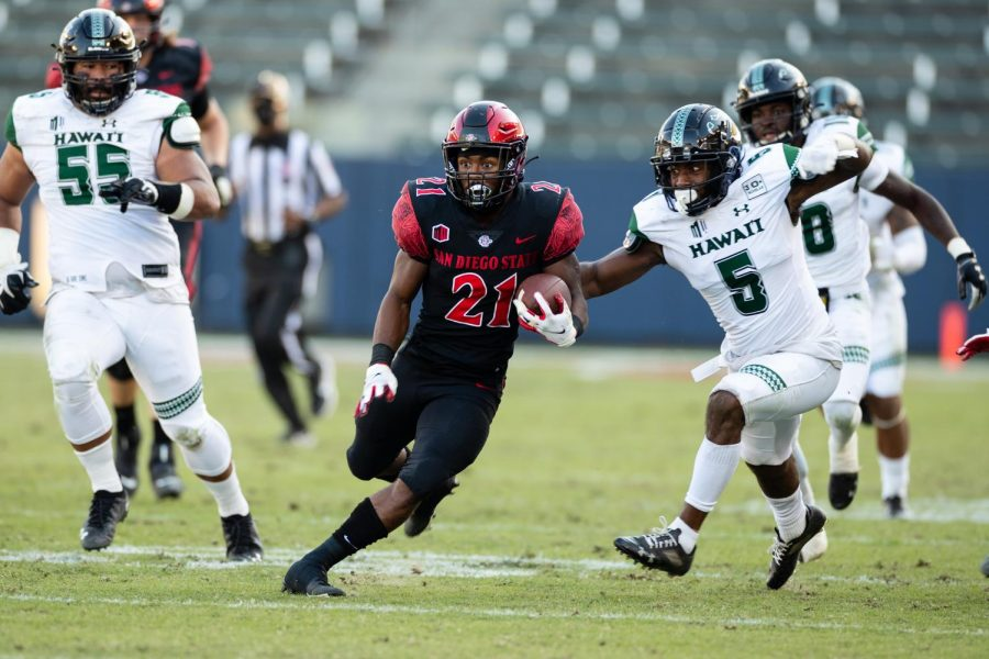 Junior running back Chance Bell breaks into the Hawaii secondary during the Aztecs' 34-10 win over the Rainbow Warriors on Nov. 14 at Dignity Health Sports Park in Carson, Calif.