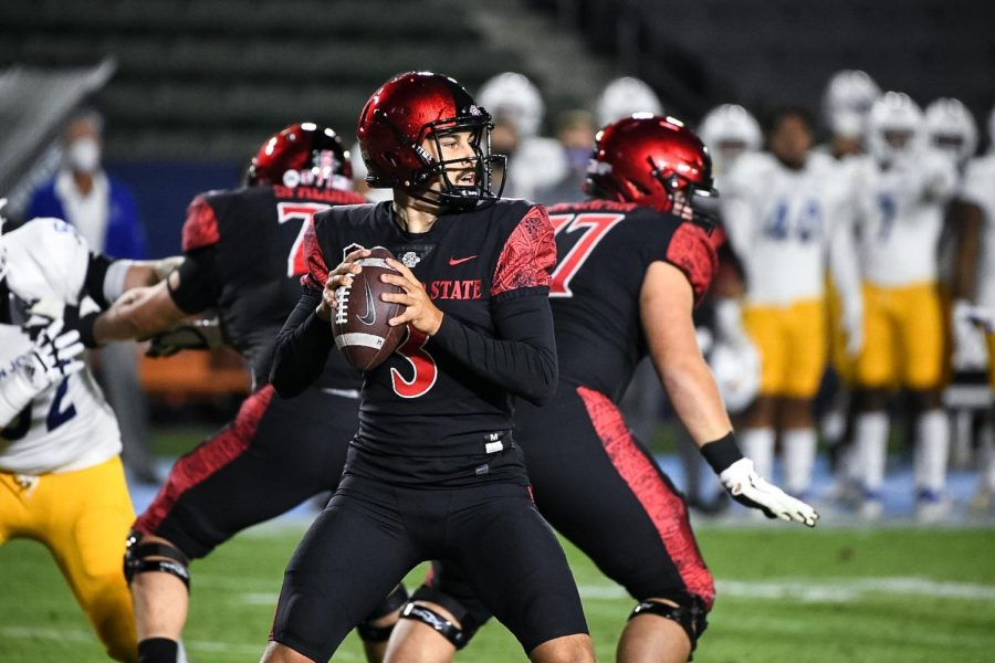 Sophomore quarterback Carson Baker drops back and prepares to throw a pass during the Aztecs' 28-17 loss to San José State on Nov. 6 at Dignity Health Sports Park in Carson, Calif.