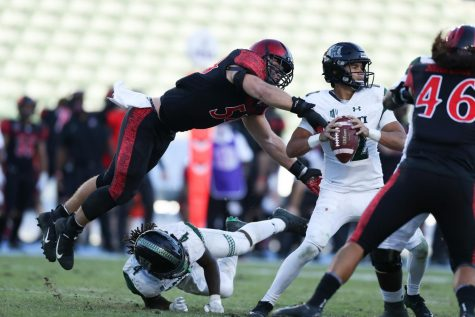 Junior linebacker Caden McDonald strip sacks Hawaii sophomore quarterback Chevan Cordeiro during the Aztecs
