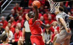 Then-sophomore forward Aguek Arop attempts a layup during the Aztecs' 68-55 win over Nevada on Jan. 18 at Viejas Arena.