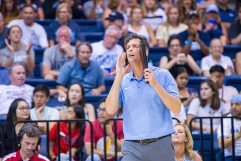 USD then-head volleyball coach Brent Hilliard instructs his team during his tenure with the Toreros.