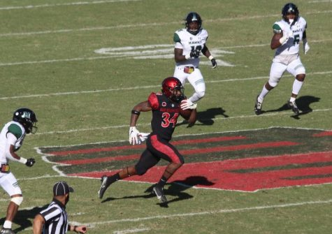 Senior running back Greg Bell rushes for a touchdown during the Aztecs' 34-10 win over Hawaii on Nov. 14 at Dignity Health Sports Park in Carson, Calif.