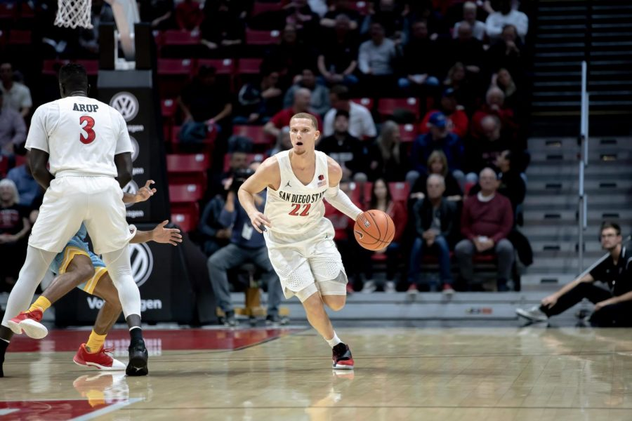 Then-junior guard Malachi Flynn dribbles upcourt during the Aztecs' 81-64 win over Long Island on Nov. 22 at Viejas Arena.