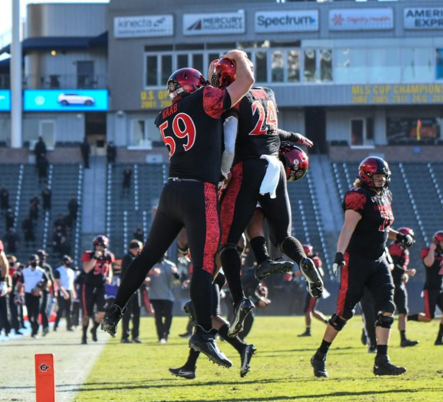 Senior+linebacker+Segun+Olubi+%28right%29+celebrates+with+junior+long+snapper+Jacob+Raab+after+Olubi+returned+an+interception+for+a+touchdown+during+the+Aztecs%27+34-10+win+over+Hawaii+on+Nov.+14+at+Dignity+Health+Sports+Park.