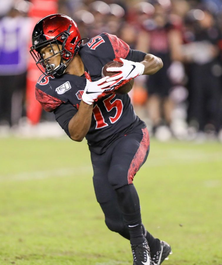 Then-sophomore running back Jordan Byrd carries the ball during the Aztecs' 13-3 win over Brigham Young on Nov. 30, 2019 at SDCCU Stadium.