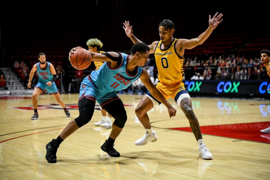 Senior forward Matt Mitchell faces UC Irvine sophomore forward JC Butler during the Aztecs' 77-58 win over the Anteaters on Nov. 27 at Viejas Arena.