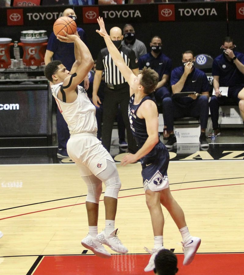 Senior forward Matt Mitchell attempts a fadeaway jumper during the Aztecs' 72-62 loss to Brigham Young on Dec. 18 at Viejas Arena. Mitchell scored a career-high 35 points in the losing effort.