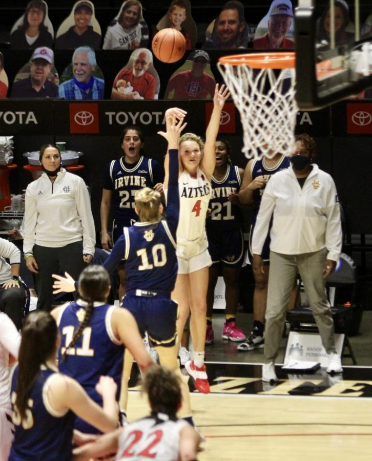 Freshman guard Bailee Chynoweth fires a 3-point shot during the Aztecs' 66-55 loss to UC Irvine on Dec. 19 at Viejas Arena.