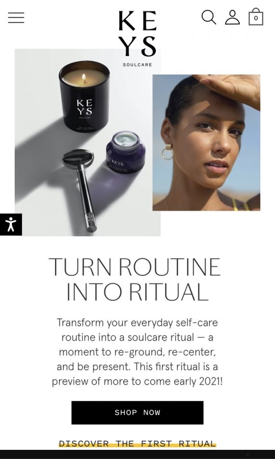A screenshot of Alicia Keys' new skincare website, Keys Soulcare.