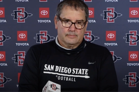San Diego State football head coach Brady Hoke speaks in front of the media during a press conference on  Dec. 16 — the beginning of the early National Signing Day period.
