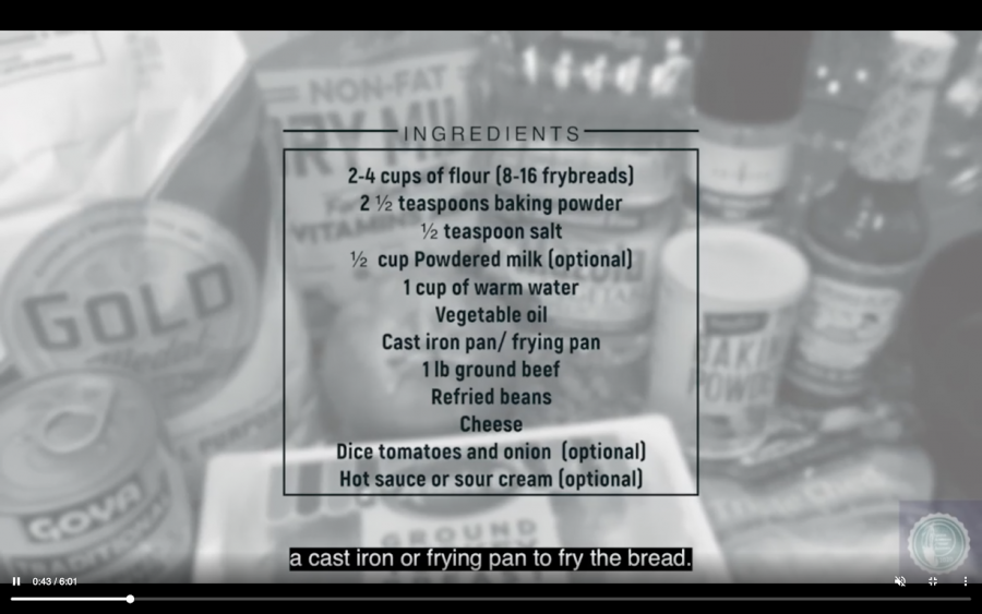 A set of instructions for how to make Native Frybread.