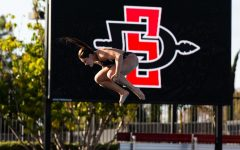 Senior diver Erica Sarver attempts a dive during the Aztecs' 33-24 pentathlon win over San Diego on Dec. 10, 2020 at the Aztec Aquaplex.