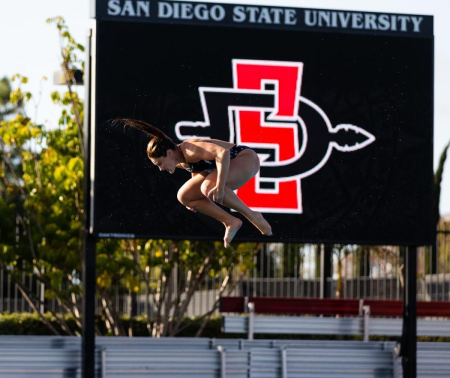 Senior diver Erica Sarver attempts a dive during the Aztecs' 33-24 pentathlon win over San Diego on Dec. 10, 2020 at the Aztec Aquaplex.