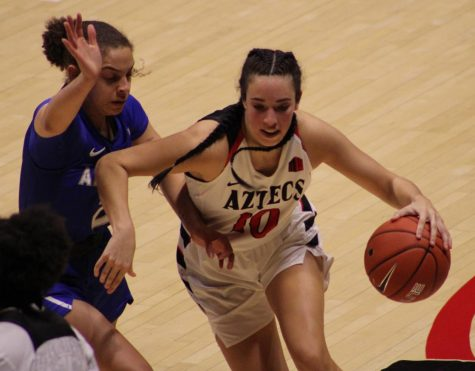 Sophomore guard Isabela Hernandez looks to dribble past an Air Force defender during the Aztecs