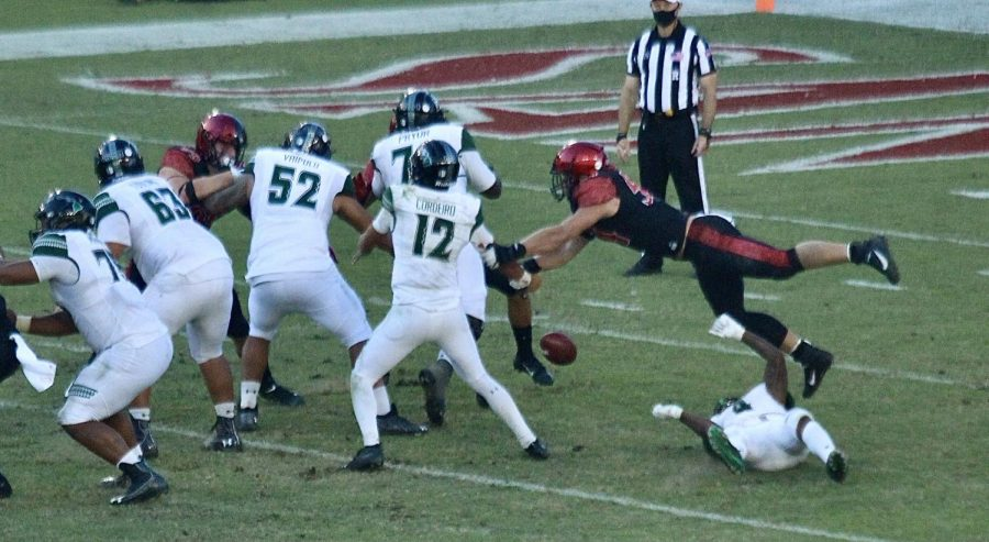 Senior linebacker Caden McDonald forces a strip sack against Hawaii sophomore quarterback Chevan Cordeiro during the Aztecs' 34-10 win over the Rainbow Warriors on Nov. 14, 2020 at Dignity Health Sports Park in Carson, Calif.