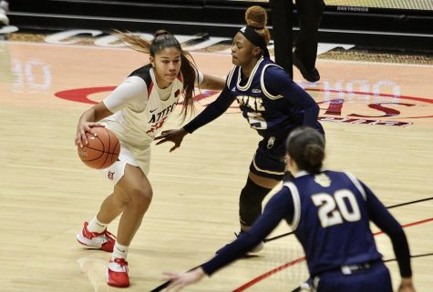 Freshman guard/forward Kim Villalobos looks to drive past the UC Irvine defense during the Aztecs