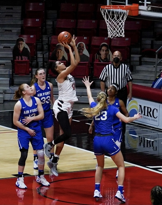 Freshman center Kamaria Gipson attempts a layup over four Air Force defenders during the Aztecs 59-54 win over the Falcons on Jan. 23 at Viejas Arena.