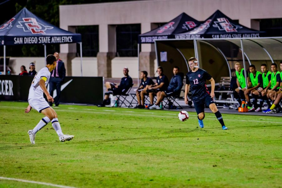 Then-freshman forward Hunter George dribbles down the wing during the Aztecs' 4-0 loss to California on Oct. 10, 2019 at the SDSU Sports Deck.