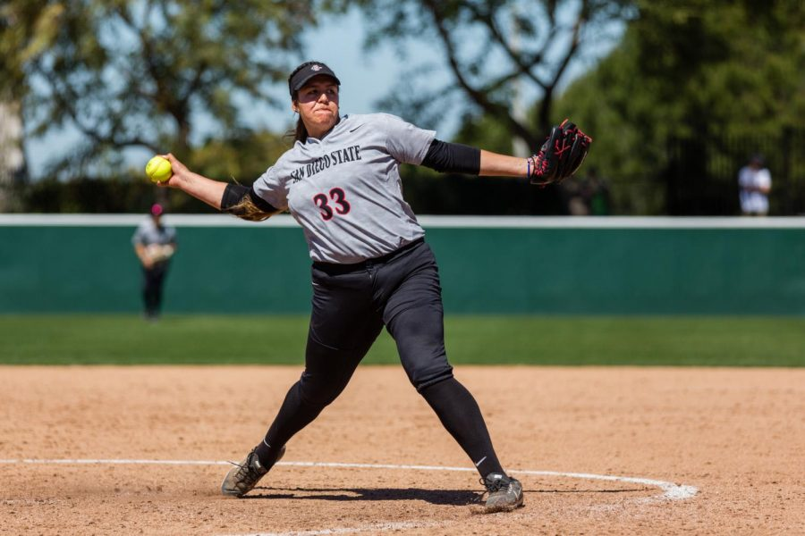 San Diego State softball then-junior pitcher Marissa Moreno fires a pitch during the Aztecs' 4-3 over New Mexico on March 17, 2019 at the SDSU Softball Stadium.
