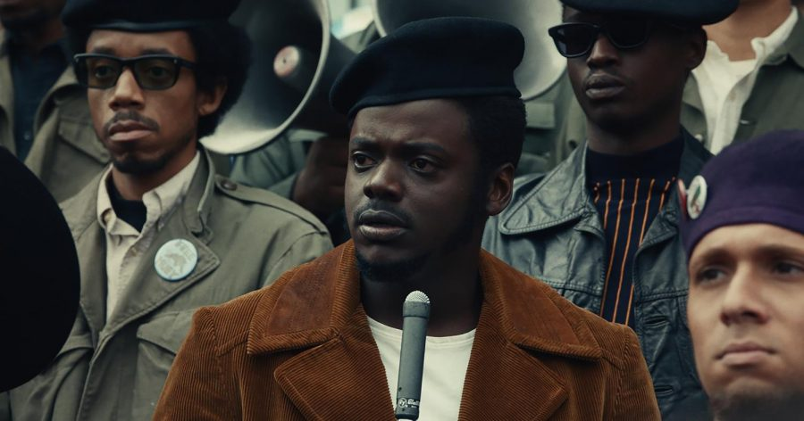 "(Top l-r) DARRELL BRITT-GIBSON as Bobby Rush, DANIEL KALUUYA as Chairman Fred Hampton and ASHTON SANDERS as Jimmy Palmer in Warner Bros. Pictures' ""JUDAS AND THE BLACK MESSIAH,"" a Warner Bros. Pictures release."