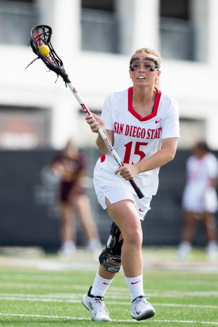 San Diego State lacrosse then-senior midfielder Taylor Sullivan carries the ball during the Aztecs