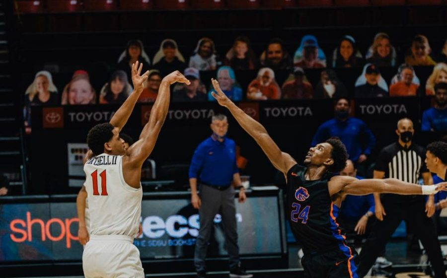 San+Diego+State+mens+basketball+senior+forward+Matt+Mitchell+fires+a+3-pointer+during+the+Aztecs%27+78-66+overtime+win+over+Boise+State+on+Feb.+25+at+Viejas+Arena.
