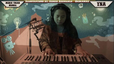 Yna Pineda performing an original song accompanied with graphic design illustrations from Kenzie Barnickle. Screenshot courtesy of More Than Music.