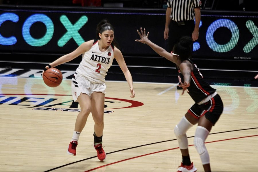 San+Diego+State+junior+guard+Sophia+Ramos+looks+to+drive+inside+during+the+Aztecs%27+80-65+loss+to+UNLV+on+Feb.+15%2C+2021+at+Viejas+Arena.