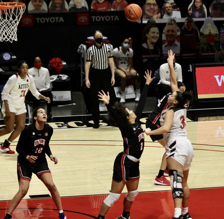 San Diego State women's basketball sophomore forward Mallory Adams attempts a shot with her right hand during the Aztecs' 80-65 loss to UNLV on Feb. 15, 2021 at Viejas Arena.