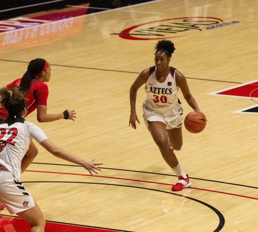Junior forward Ivvana Murillo drives towards the basket during the Aztecs 84-48 loss to New Mexico on Feb. 3 at Viejas Arena.