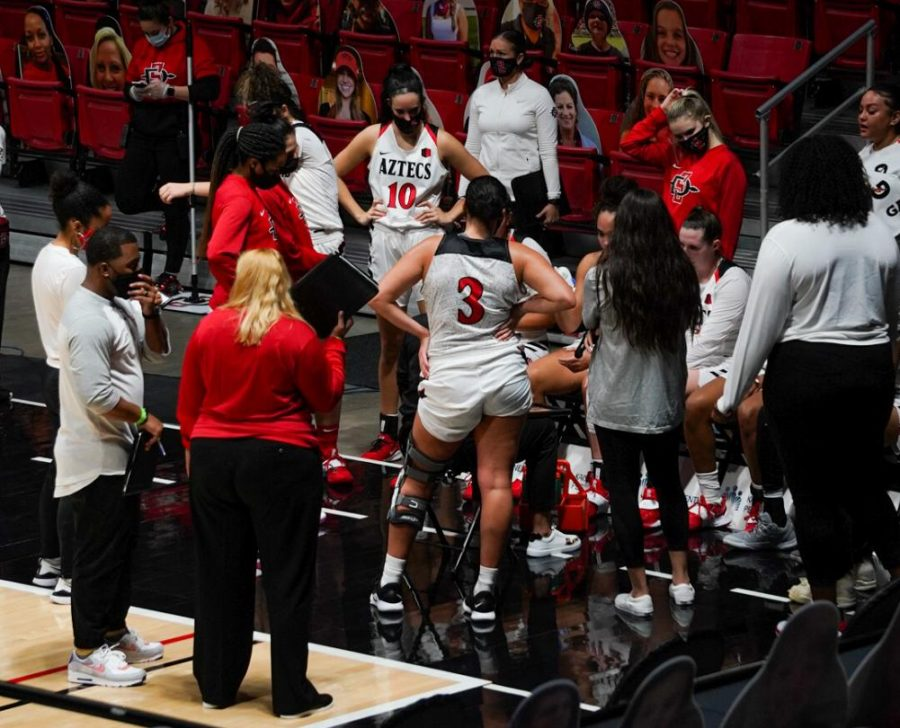 The San Diego State women's basketball team huddles in a timeout during the Aztecs' 59-54 win over the Falcons on Jan. 23 at Viejas Arena.