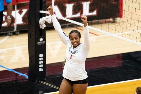 San Diego State volleyball sophomore outside hitter Nya Blair celebrates after a play during the Aztecs