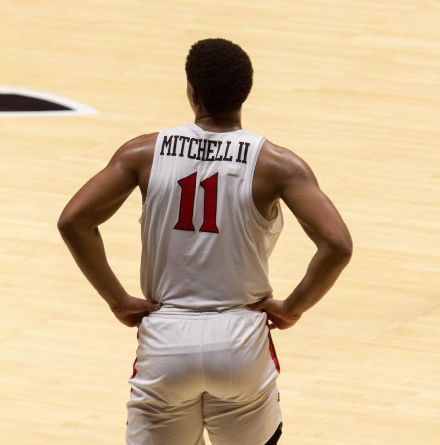 Senior forward Matt Mitchell looks on the court during the Aztecs' 77-55 win over San José State on Feb. 10, 2021 at Viejas Arena.