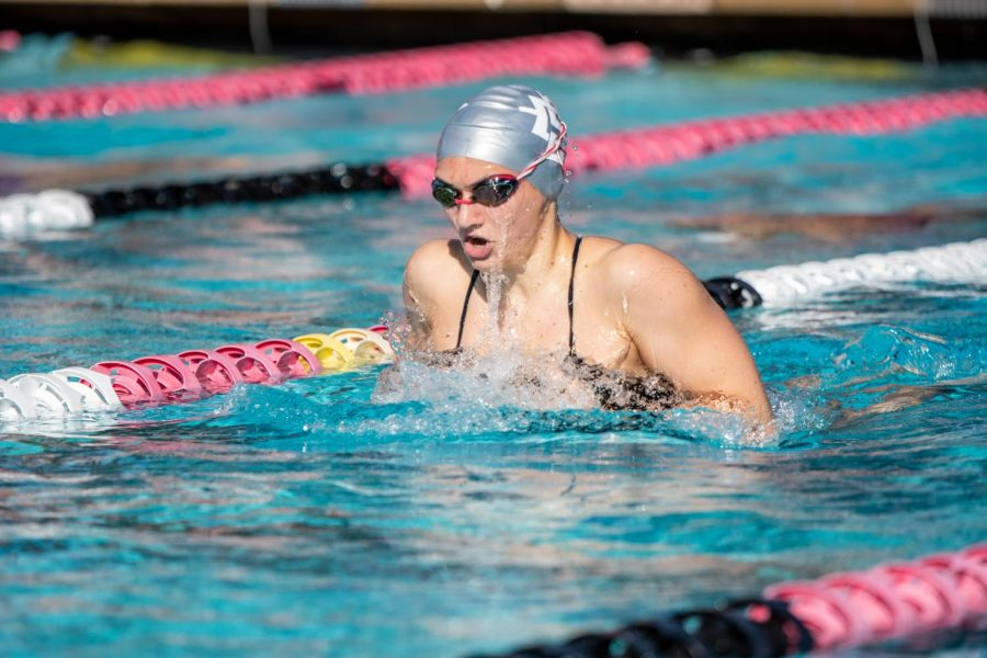 San Diego State sophomore swimmer Evonne Stehr races during the 2020-21 season.