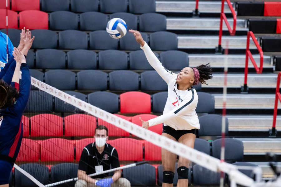 San Diego State volleyball junior outside hitter Victoria O'Sullivan spikes the ball during the Aztecs' 3-1 loss to Fresno State on Feb. 12 at Peterson Gym.