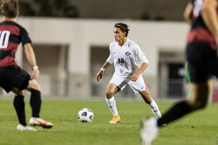 San Diego State mens soccer freshman midfielder Andrew Ochoa  controls the ball during the Aztecs 1-0 loss to the Cardinal on Feb. 27 at the SDSU Sports Deck.