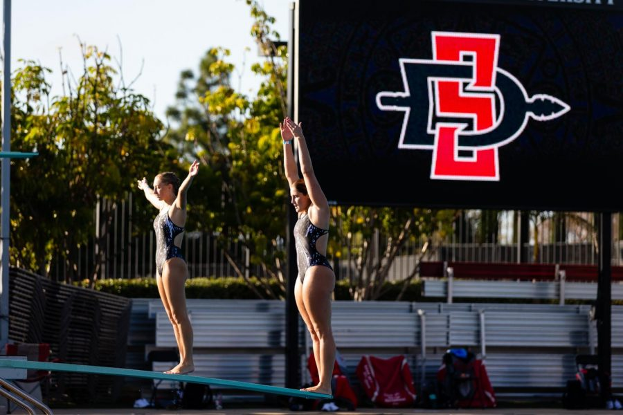 San Diego State swiming and diving senior diver Erica Sarver attempts a dive during the Aztecs' 33-24 pentathlon win over San Diego on Dec. 10, 2020 at the Aztec Aquaplex.