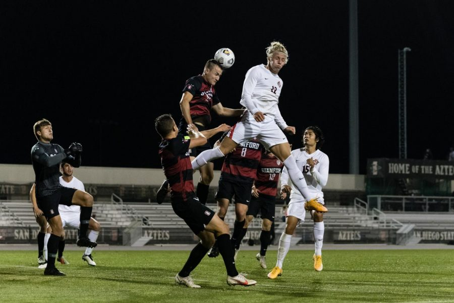 San Diego State men's soccer sophomore forward Austin Wehner goes up for a header during the Aztecs' 1-0 loss to the Cardinal on Feb. 27 at the SDSU Sports Deck.