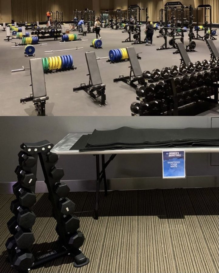 The top photo shows a fully-equipped weightroom at the NCAA men's basketball Tournament in Indianapolis, while a poorly-accomodated exercise area (bottom) was present at the women's NCAA Tournament in San Antonio.