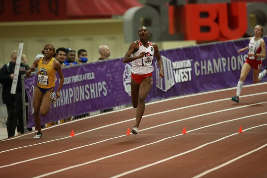 San Diego State track and field then-junior runner Jalyn Harris competes during the Mountain West Indoor Championships on Feb. 27-29, 2020 in Albuquerque, New Mexico.