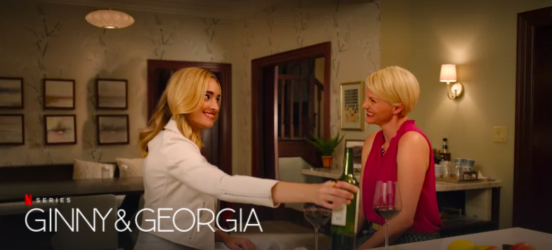 A screenshot of the Netflix series featuring Brianne Howey and Antonia Gentry.