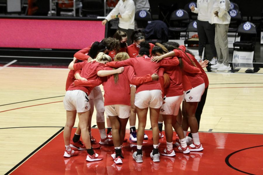 The San Diego State women's basketball huddles up before the Aztecs' 66-55 loss to UC Irvine on Dec. 19, 2020 at Viejas Arena.