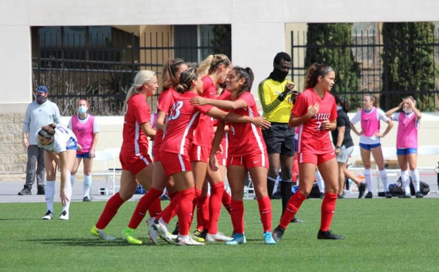The San Diego State women's soccer team celebrates after a goal during the Aztecs' 3-1 win over Boise State on March 7, 2021 at the SDSU Sports Deck.