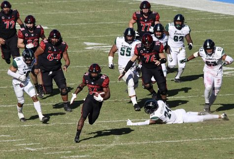 San Diego State football senior running back Greg Bell makes a Hawaii defender miss during the Aztecs' 34-10 win over the Rainbow Warriors on Nov. 14, 2020 at Dignity Health Sports Park in Carson, Calif.