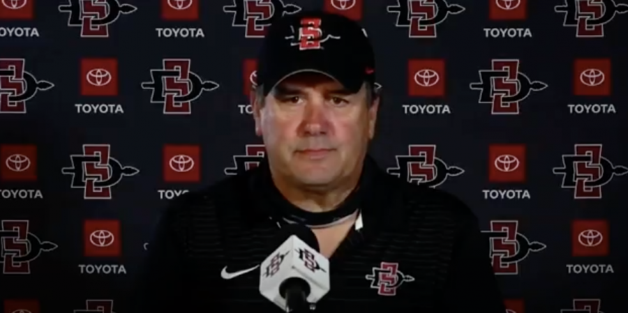 San Diego State football head coach Brady Hoke speaks in front of the media on April 20, 2021 to provide an update on spring practices.