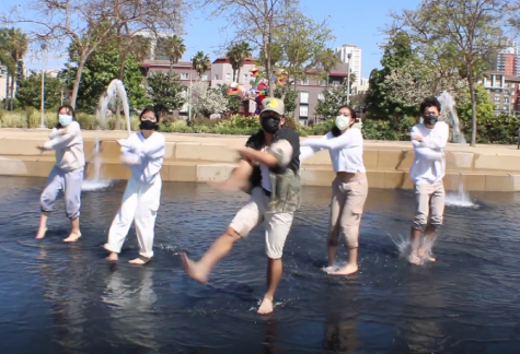 The splashing of the water emphasized each dance move during this scene in VSA Modern's dance video performance.
