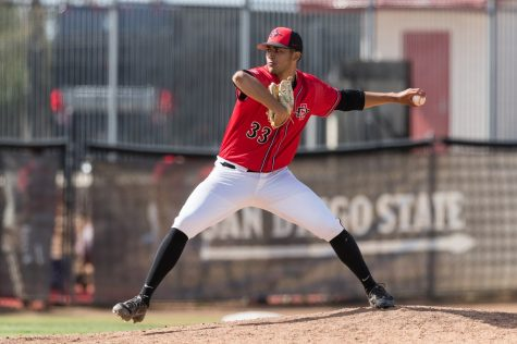San Diego State baseball redshirt junior pitcher Christian Winston winds up during the Aztecs