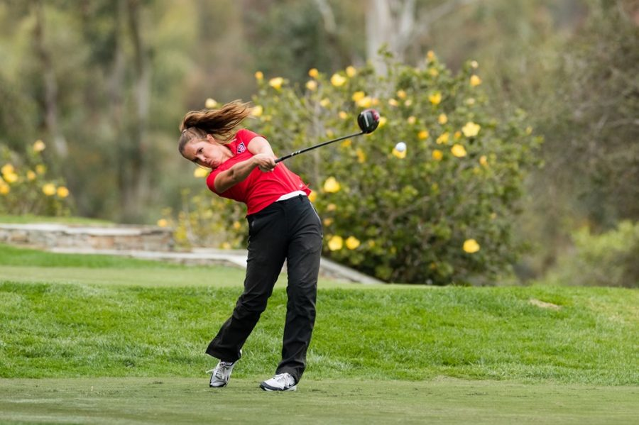 San Diego State women's golf senior Sara Kjellker swings her driver during the Aztecs' fourth-place finish at the Lamkin Invitational on February 9, 2021 at The Farms Golf Club in Rancho Santa Fe, Calif.