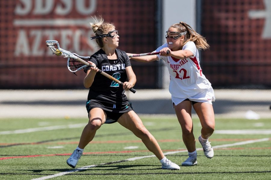 San Diego State lacrosse junior midfielder Courtney Robinson defends a Coastal Carolina player during the Aztecs' 18-14 loss to the Chanticleers on March 27, 2021 at the Aztec Lacrosse Field.