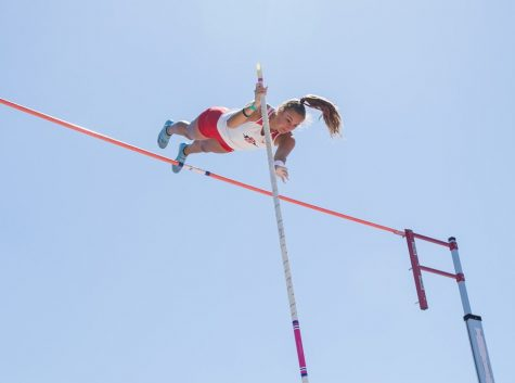 San Diego State track and field senior pole vaulter Kaitlin Heri competes during the Mountain West Challenge on April 7, 2021 at the Aztrack Sports Deck.
